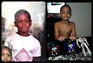 jamie Cummings age eight, Jamie Cummings and his son.