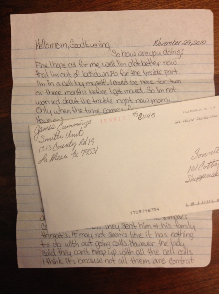 prison letters,inmate letters,ad seg,level G4
